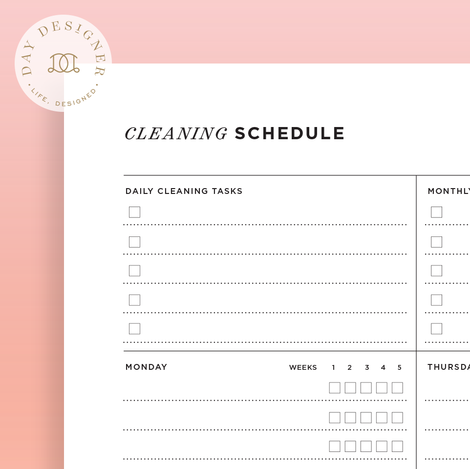 Cleaning Schedule – Day Designer
