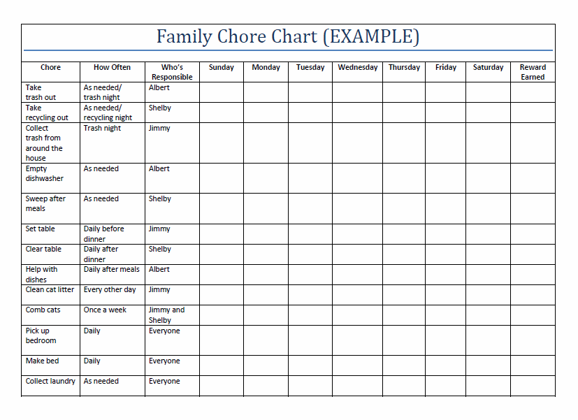 Printable Family Chore Charts Template | Home | Teen chore chart