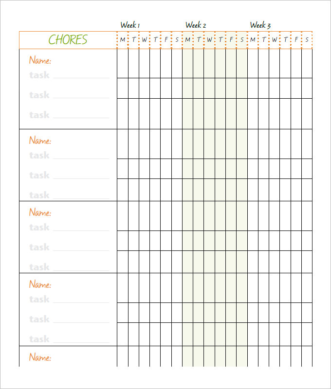 10+ Family Chore Chart Templates   PDF, DOC, Excel | Free