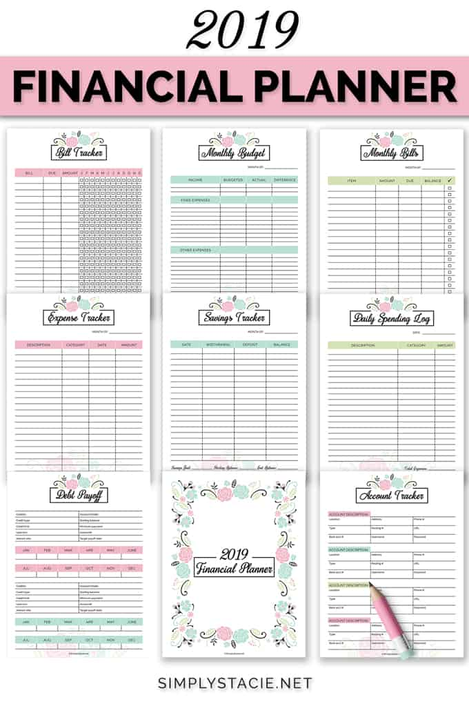 2019 Financial Planner Free Printable   Simply Stacie