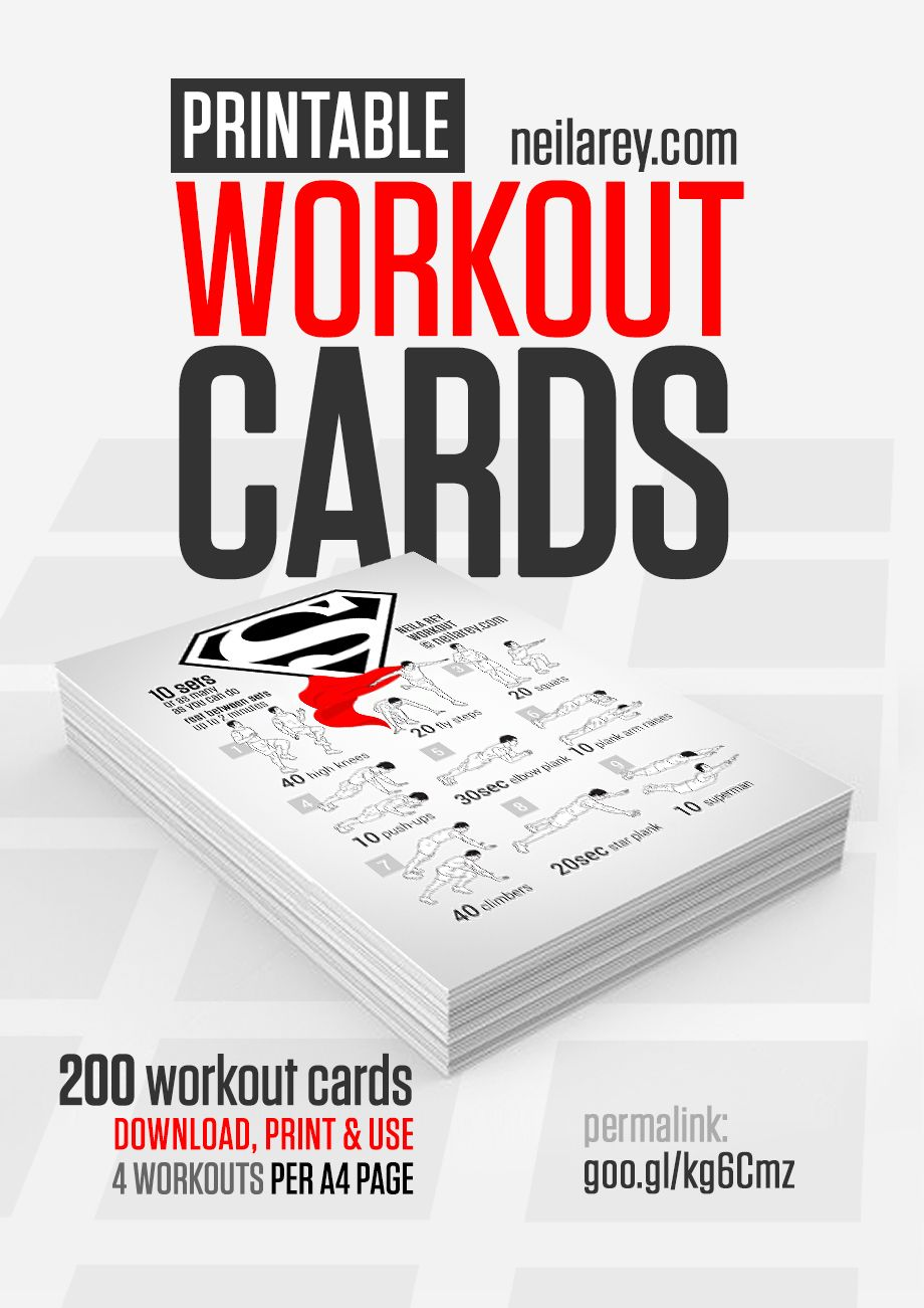 FREE PRINTABLE Workout Cards by Neila Rey (website is now called
