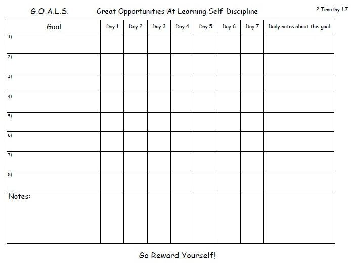 A weekly goal chart to help you get into the habit and help you