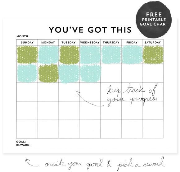 You've Got This: Free Printable Goal Chart | Motivation | Goal
