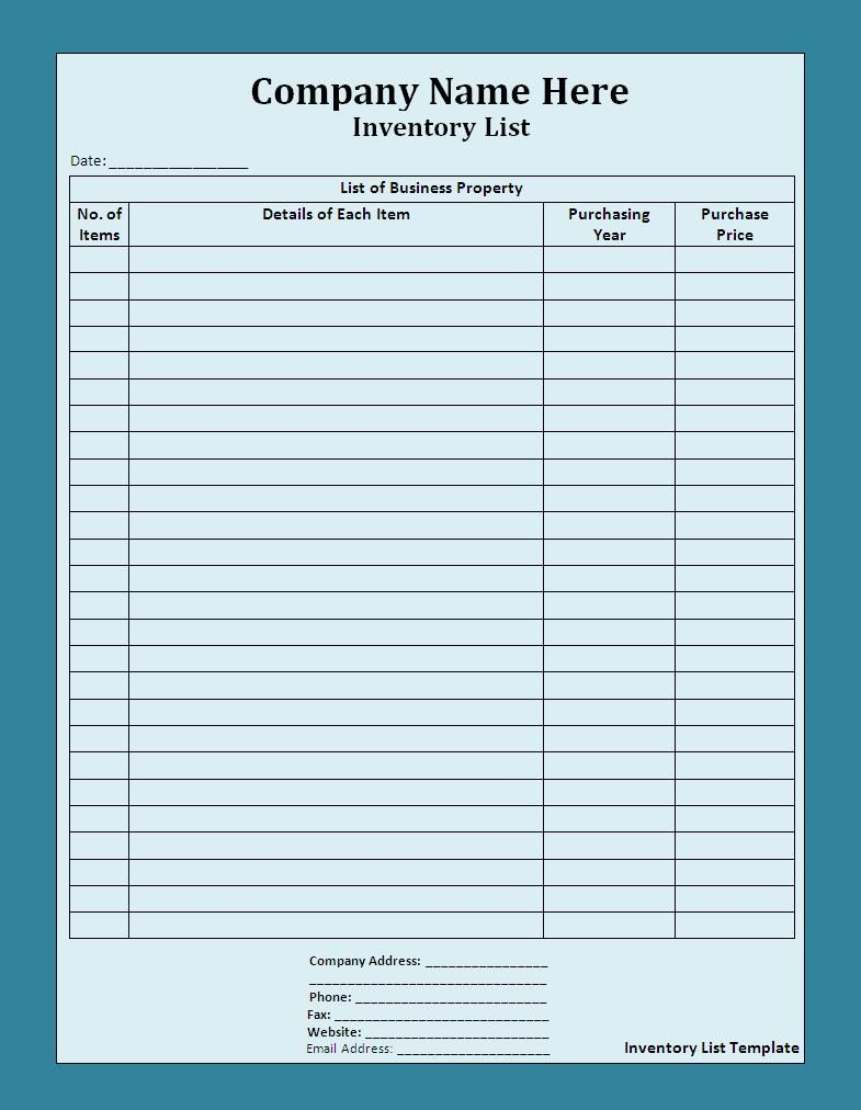 Inventory List Templates | 19+ Free Printable Xlsx, Docs & PDF