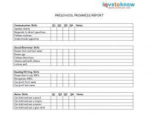 Printable Preschool Progress Reports | School days | Progress