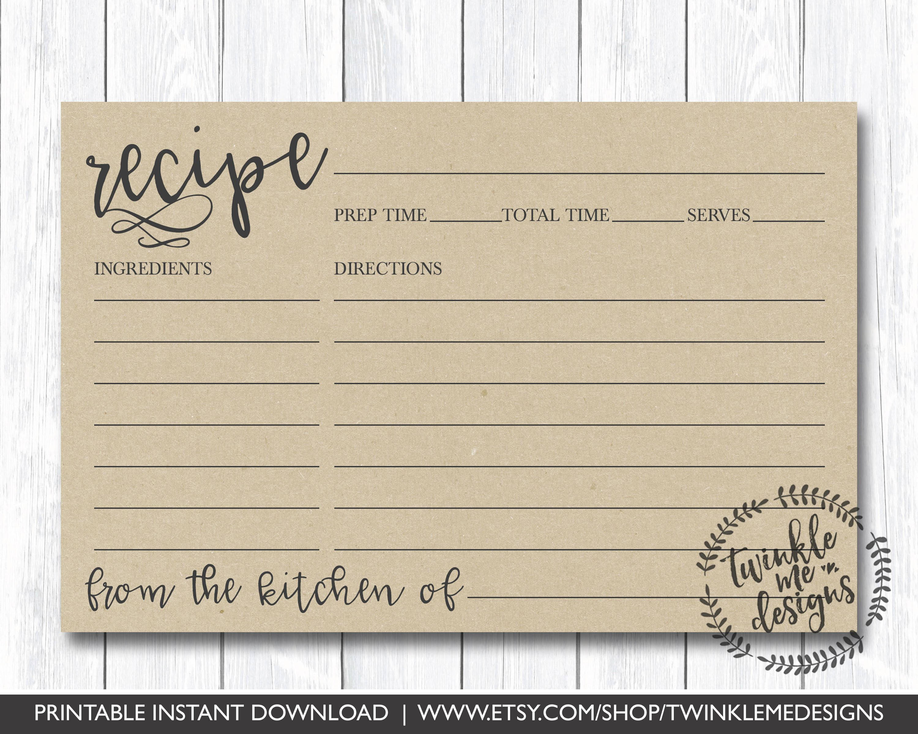 Recipe Card Printable, Printable Recipe Card, DIY Recipe Cards