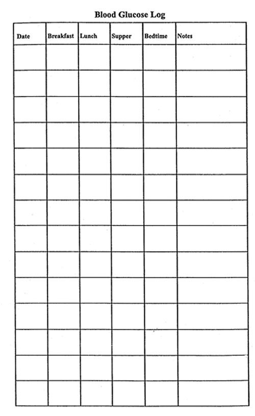 Free printable Blood Sugar Log (PDF) from Vertex42.| Debbie in
