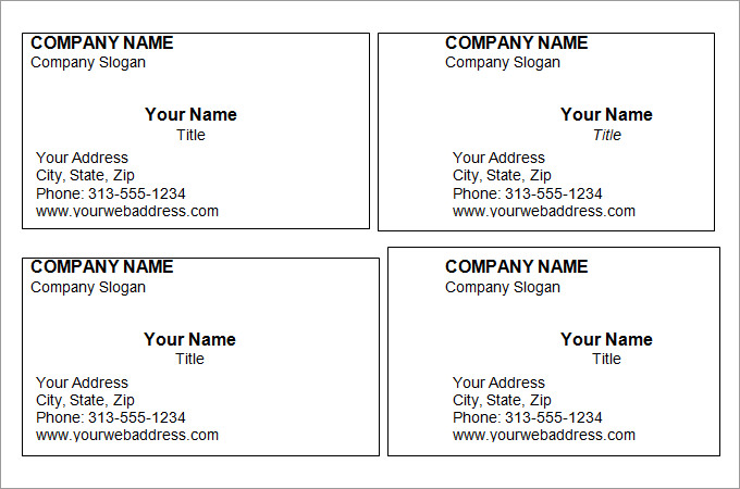 Printable Business Card Templates Free