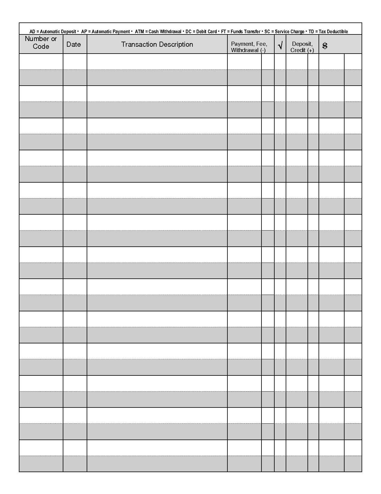 37 Checkbook Register Templates [100% Free, Printable] ᐅ Template Lab