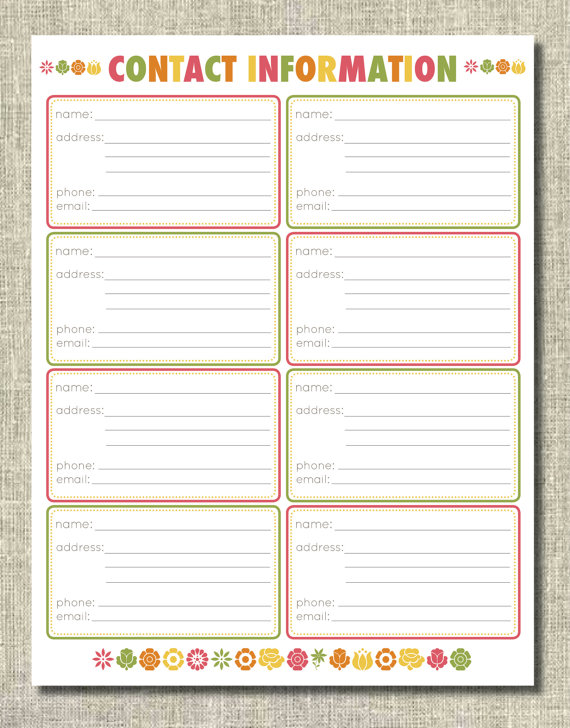 Contact Sheet Phone Numbers & Addresses free printable
