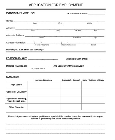 6+ Sample Printable Job Application   Free Sample, Example, Format
