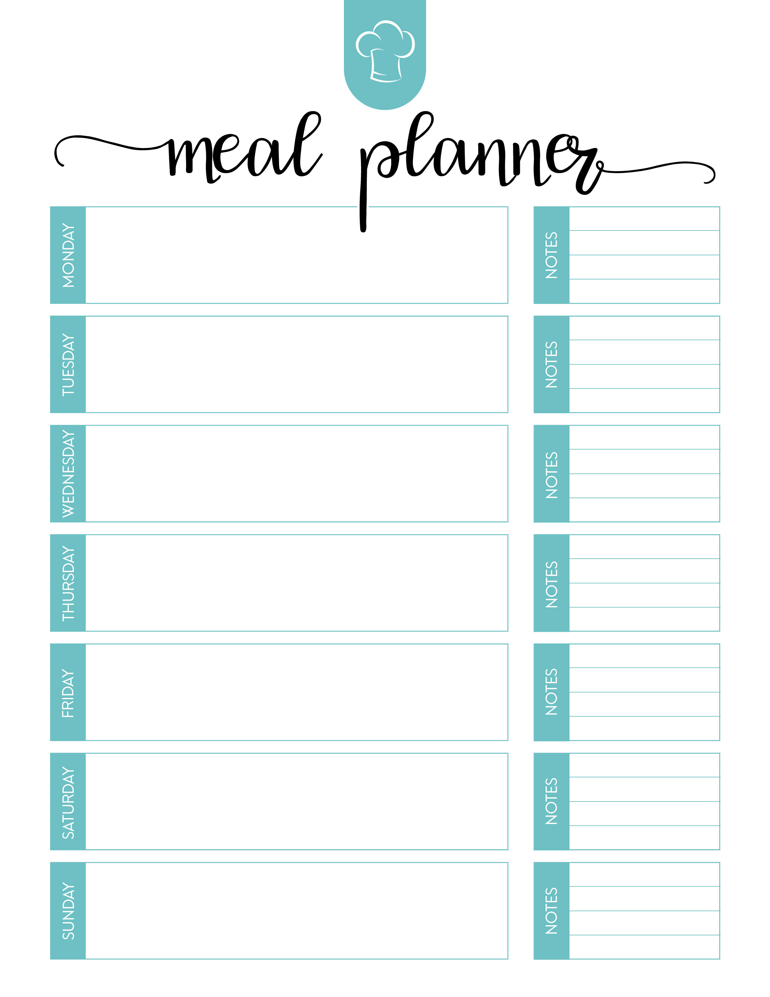 Free Printable Meal Planner Set   The Cottage Market