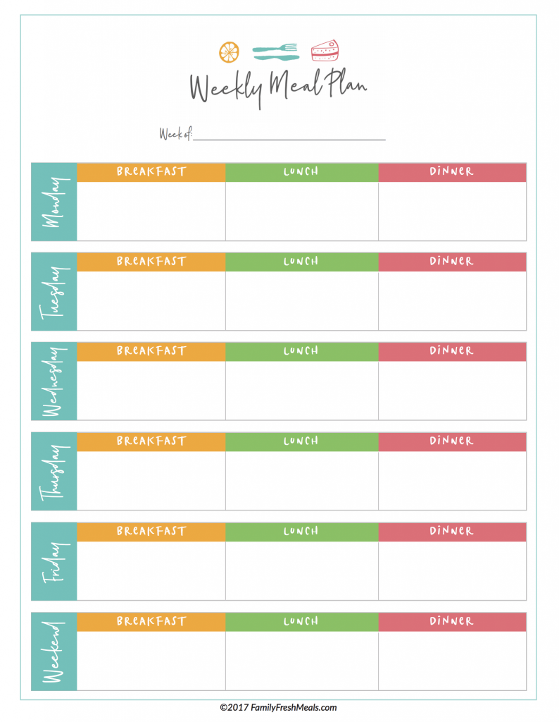 Meal Plan Printable | room surf.com