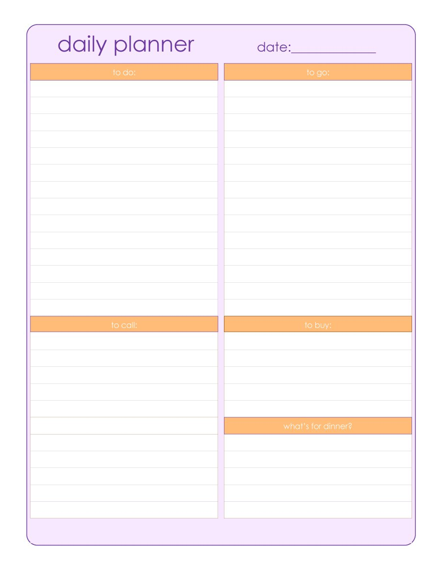 40+ Printable Daily Planner Templates (FREE) ᐅ Template Lab