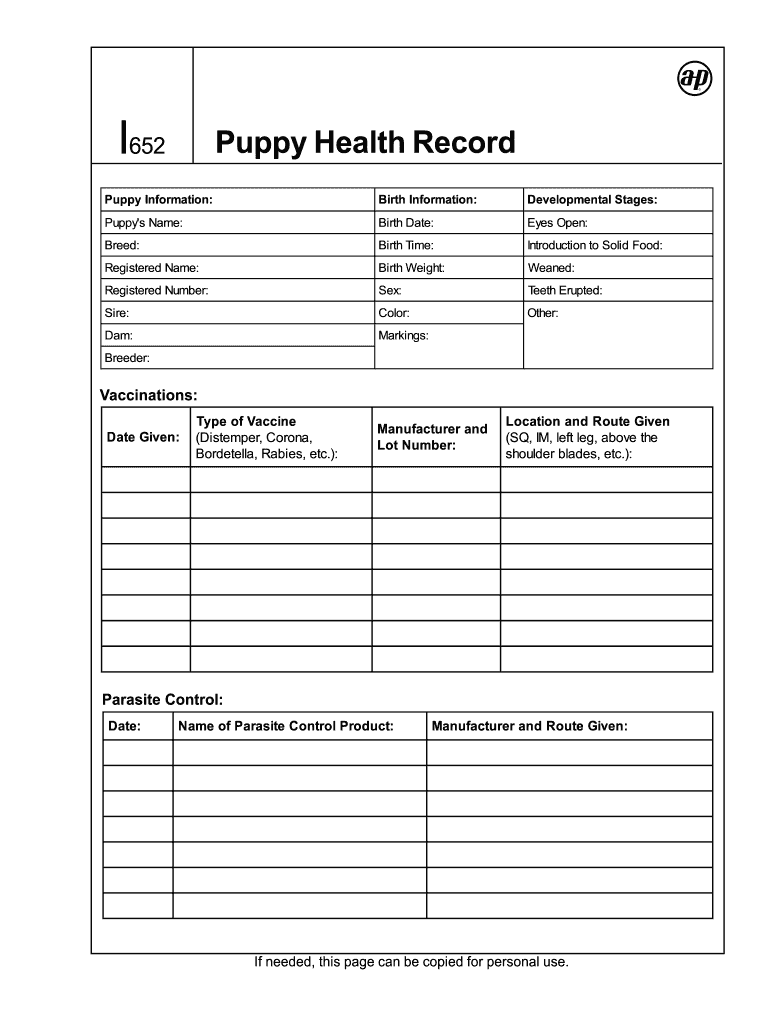 Puppy Records Template | Pet Health Record template | Pet   Dog