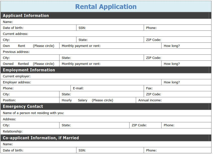 Free Printable Rental Application Template | Tags: printable pdf