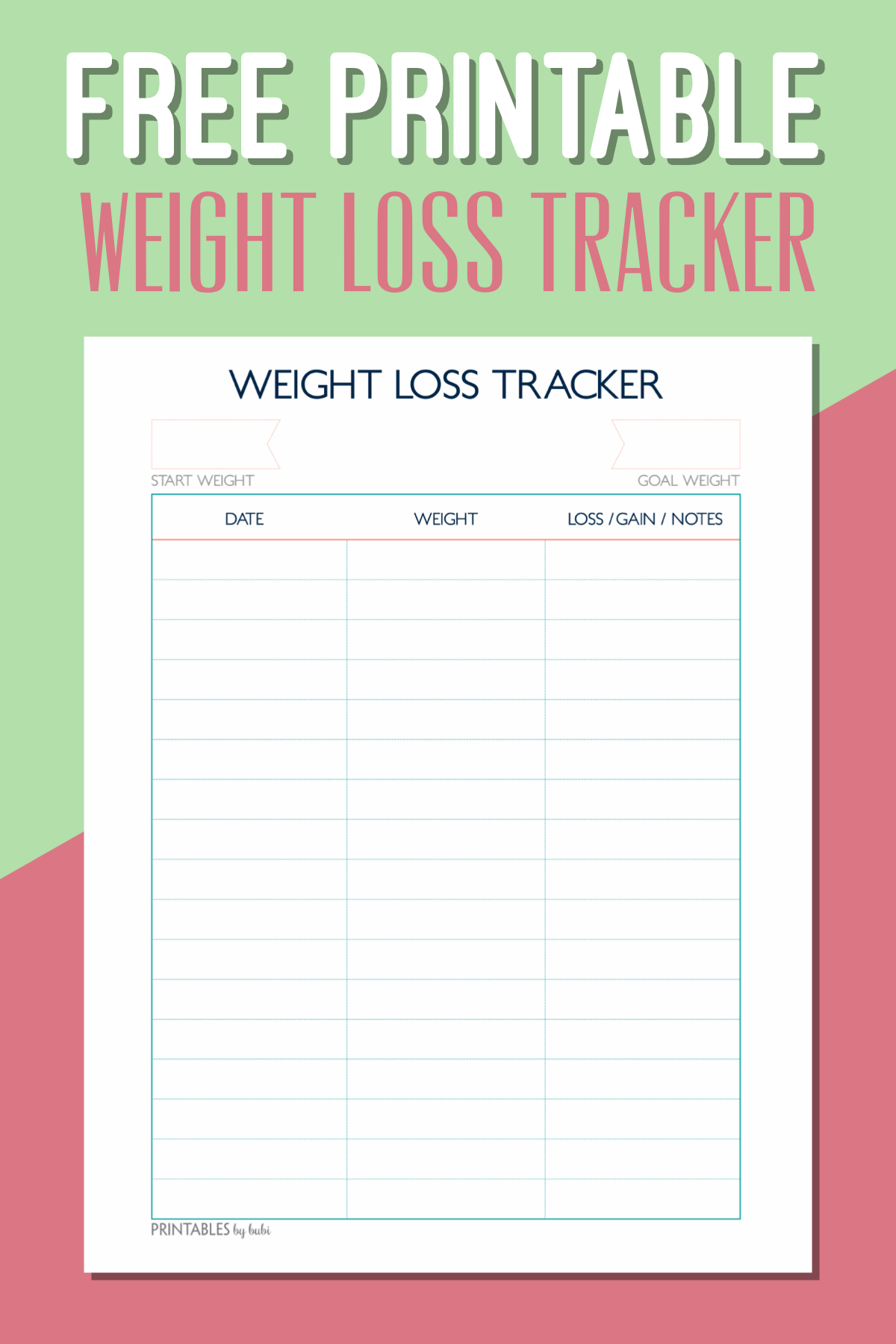 Free Printable Weight Loss Tracker – Instant Download PDF