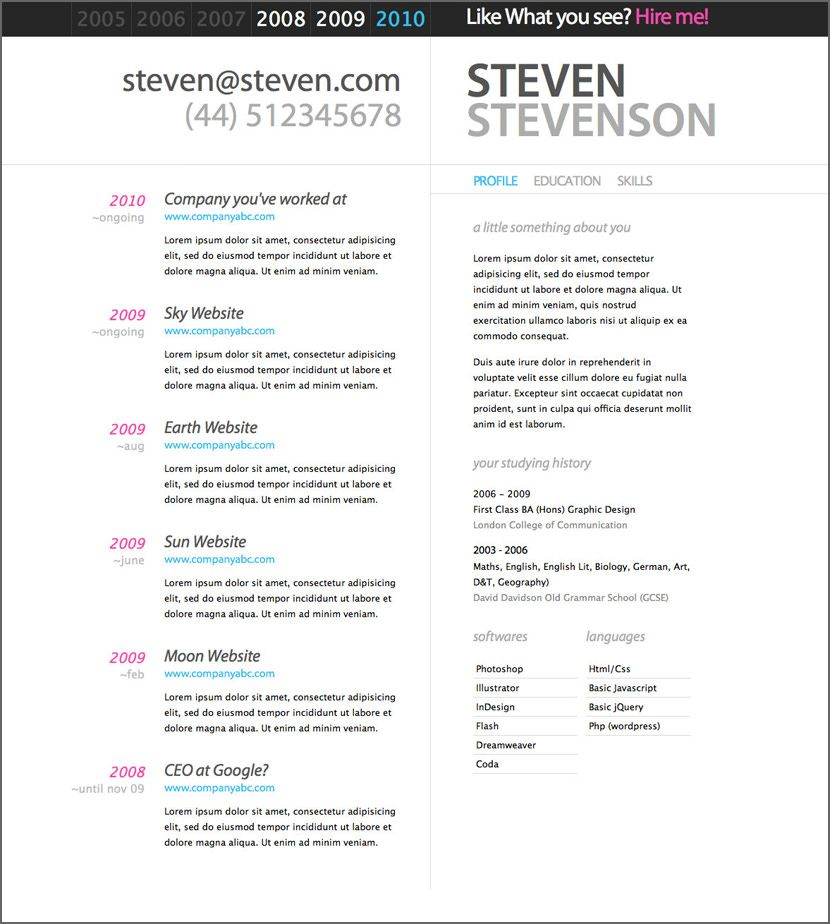 Print Out Resume Template   HashTag Bg