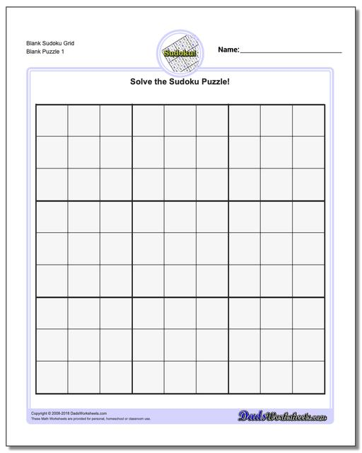 Blank Sudoku Grid for Download and Printing   Puzzle Stream